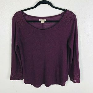 Lucky Brand Size Small Purple Long Sleeve Top